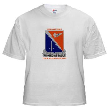 8B229AR - A01 - 04 - DUI - 8th Battalion, 229th Aviation Regiment with text - White t-Shirt