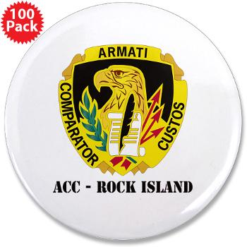 "ACCRI - M01 - 01 - DUI - ACC - Rock Island with text - 3.5"" Button (100 pack)"