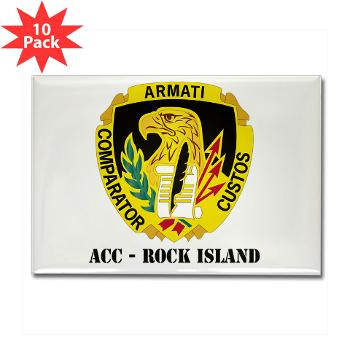 ACCRI - M01 - 01 - DUI - ACC - Rock Island with text - Rectangle Magnet (10 pack)
