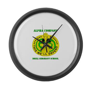 ACDSS - M01 - 03 - DUI - Alpha Co - Drill Sgt School with Text Large Wall Clock