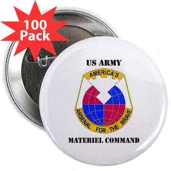 "AMC - M01 - 01 - DUI - Army Materiel Command with Text - 2.25"" Button (100 pack)"