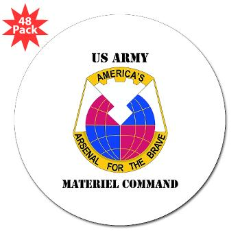 "AMC - M01 - 01 - DUI - Army Materiel Command with Text - 3"" Lapel Sticker (48 pk)"
