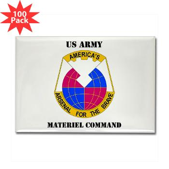 AMC - M01 - 01 - DUI - Army Materiel Command with Text - Rectangle Magnet (100 pack)