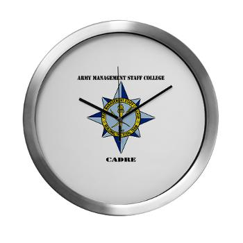 AMSCC - M01 - 03 - DUI - Army Management Staff College Cadre with Text - Modern Wall Clock