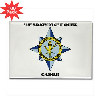 AMSCC - M01 - 01 - DUI - Army Management Staff College Cadre with Text - Rectangle Magnet (100 pack)