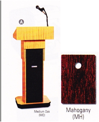 Executive Adjustable Sound Column Lectern - Mahogany