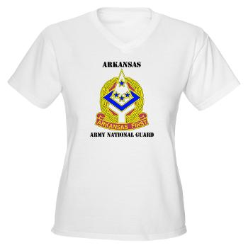 ARARNG - A01 - 04 - DUI - Arkansas Army National Guard With Text - Women's V-Neck T-Shirt