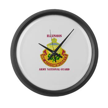 ARNGILLINOIS - M01 - 03 - DUI - ILLINOIS ARNG with Text - Large Wall Clock