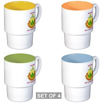 ARNGILLINOIS - M01 - 03 - DUI - ILLINOIS ARNG with Text - Stackable Mug Set (4 mugs)
