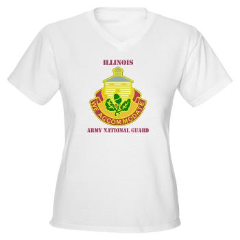 ARNGILLINOIS - A01 - 04 - DUI - ILLINOIS ARNG with Text - Women's V-Neck T-Shirt