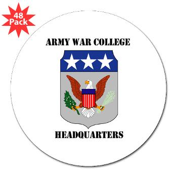 "AWCH - M01 - 01 - Army War College Headquarters with Text 3"" Lapel Sticker (48 pk)"