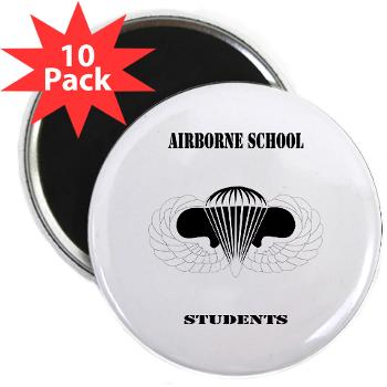 "Airborne - M01 - 01 - DUI - Airborne School - Cadre with Text - 2.25"" Magnet (10 pack)"