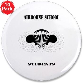 "Airborne - M01 - 01 - DUI - Airborne School - Cadre with Text - 3.5"" Button (10 pack)"