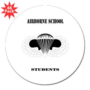 "Airborne - M01 - 01 - DUI - Airborne School - Cadre with Text - 3"" Lapel Sticker (48 pk)"