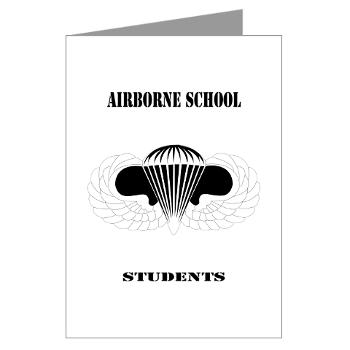 Airborne - M01 - 02 - DUI - Airborne School - Cadre with Text - Greeting Cards (Pk of 20)