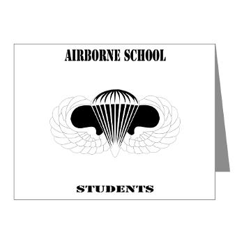 Airborne - M01 - 02 - DUI - Airborne School - Cadre with Text - Note Cards (Pk of 20)