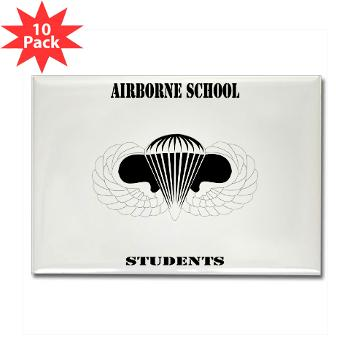 Airborne - M01 - 01 - DUI - Airborne School - Cadre with Text - Rectangle Magnet (10 pack)