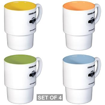 Airborne - M01 - 03 - DUI - Airborne School - Cadre with Text - Stackable Mug Set (4 mugs)