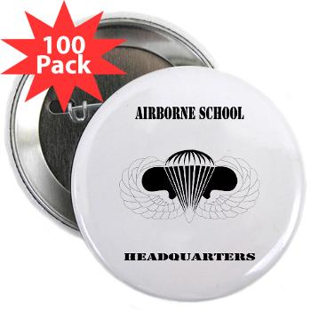 "Airborne - M01 - 01 - DUI - Airborne School Cap with Text - 2.25"" Button (100 pack)"