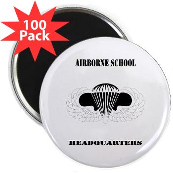 "Airborne - M01 - 01 - DUI - Airborne School Cap with Text - 2.25"" Magnet (100 pack)"