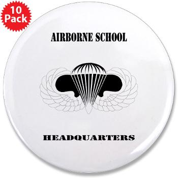 "Airborne - M01 - 01 - DUI - Airborne School Cap with Text - 3.5"" Button (10 pack)"