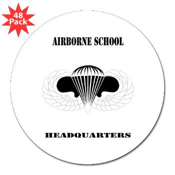 "Airborne - M01 - 01 - DUI - Airborne School Cap with Text - 3"" Lapel Sticker (48 pk)"
