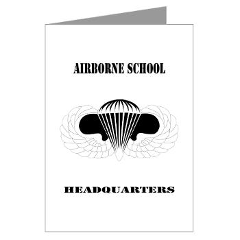 Airborne - M01 - 02 - DUI - Airborne School Cap with Text - Greeting Cards (Pk of 20)