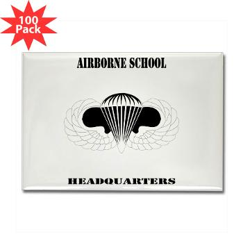 Airborne - M01 - 01 - DUI - Airborne School Cap with Text - Rectangle Magnet (100 pack)