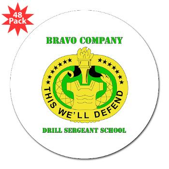 "BCDSS - M01 - 01 - DUI - Bravo Co - Drill Sgt School with Text 3"" Lapel Sticker (48 pk)"