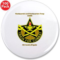 "BHHTS - M01 - 01 - DUI - Brigade Headquarters Headquarters Troop - ""Saber"" with Text 3.5"" Button (100 pack)"