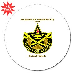 "BHHTS - M01 - 01 - DUI - Brigade Headquarters Headquarters Troop - ""Saber"" with Text 3"" Lapel Sticker (48 pk)"
