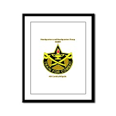 "BHHTS - M01 - 02 - DUI - Brigade Headquarters Headquarters Troop - ""Saber"" with Text Framed Panel Print"