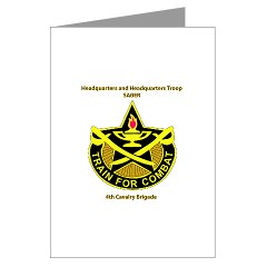 "BHHTS - M01 - 02 - DUI - Brigade Headquarters Headquarters Troop - ""Saber"" with Text Greeting Cards (Pk of 10)"