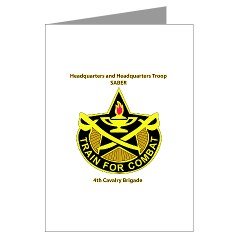 "BHHTS - M01 - 02 - DUI - Brigade Headquarters Headquarters Troop - ""Saber"" with Text Greeting Cards (Pk of 20)"