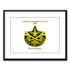 "BHHTS - M01 - 02 - DUI - Brigade Headquarters Headquarters Troop - ""Saber"" with Text Large Framed Print"