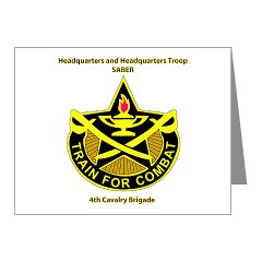 "BHHTS - M01 - 02 - DUI - Brigade Headquarters Headquarters Troop - ""Saber"" with Text Note Cards (Pk of 20)"