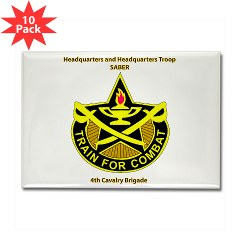 "BHHTS - M01 - 01 - DUI - Brigade Headquarters Headquarters Troop - ""Saber"" with Text Rectangle Magnet (10 pack)"