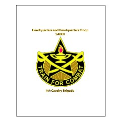 "BHHTS - M01 - 02 - DUI - Brigade Headquarters Headquarters Troop - ""Saber"" with Text Small Poster"
