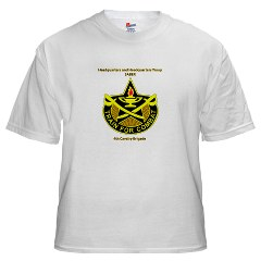 "BHHTS - A01 - 04 - DUI - Brigade Headquarters Headquarters Troop - ""Saber"" with Text White T-Shirt"