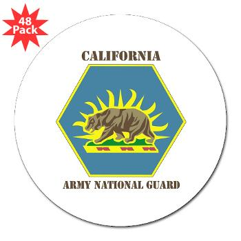 "CALIFORNIAARNG - M01 - 01 - DUI - California Army National Guard with text - 3"" Lapel Sticker (48 pk)"