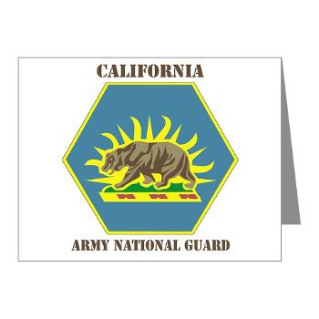 CALIFORNIAARNG - M01 - 02 - DUI - California Army National Guard with text - Note Cards (Pk of 20)