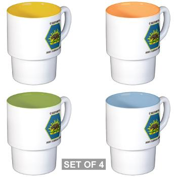 CALIFORNIAARNG - M01 - 03 - DUI - California Army National Guard with text - Stackable Mug Set (4 mugs)