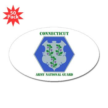 CONNECTICUTARNG - M01 - 01 - DUI - Connecticut Army National Guard with text Sticker (Oval 50 pk)