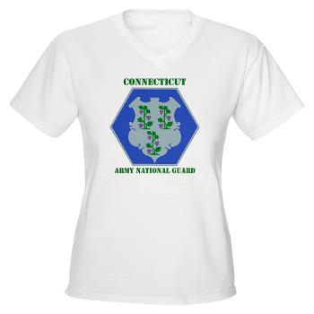 CONNECTICUTARNG - A01 - 04 - DUI - Connecticut Army National Guard with text Women's V-Neck T-Shirt