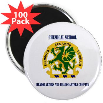 "CSHQHQC - M01 - 01 - DUI - Chemical School - HQ and HQ Coy with Text - 2.25"" Magnet (100 pack)"