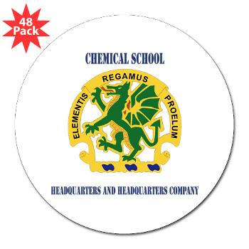"CSHQHQC - M01 - 01 - DUI - Chemical School - HQ and HQ Coy with Text - 3"" Lapel Sticker (48 pk)"