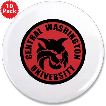 "CWU - M01 - 01 - SSI - ROTC - Central Washington University - 3.5"" Button (10 pack)"