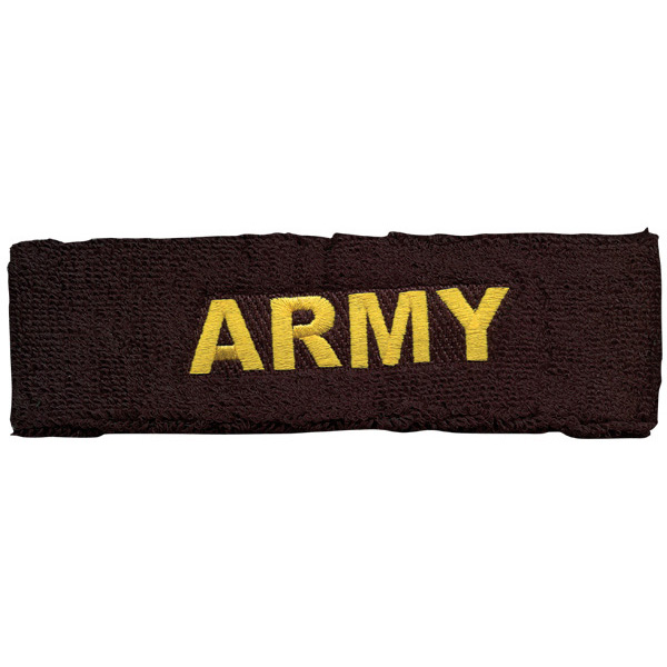 Army ARMY Letters Direct Embroidered Black Head Band  Quantity 5