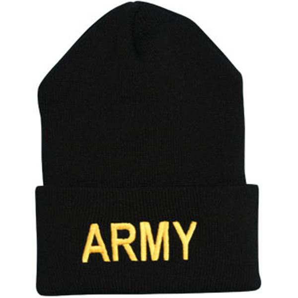Army ARMY Letters Direct Embroidered Black Watch Cap  Quantity 5