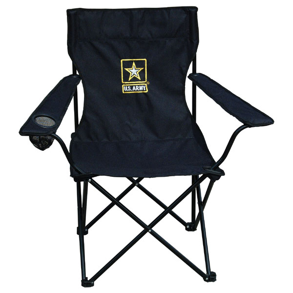 Army Army Star Direct Embroidered Black Portable Chair with Carry Bag